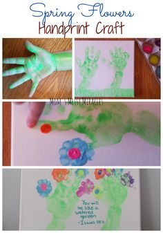 This adorable handprint craft is perfect for Spring! The kids will have fun and it looks great hanging on the wall! #FCBlogger #SpringCrafts