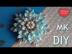 Learn how to make this beautiful kanzashi flower at only few minutes! Diy Lace Ribbon Flowers, Kanzashi Flowers, Diy Ribbon, Ribbon Crafts, Flower Crafts, Fabric Flowers, Diy Crafts, Plastic Canvas Christmas, Christmas Ribbon