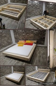 Floating wood bed 160x200 10x16cm pine wood #bedframes