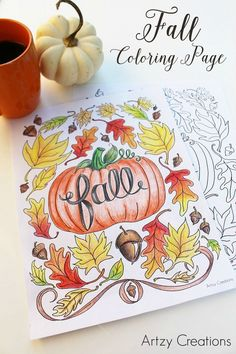 Thanksgiving Crafts- Fall Coloring Page Printable. My kiddos are going to love this Thanksgiving Activity and its also great for class parties! Fall Coloring Pages, Coloring For Kids, Printable Coloring Pages, Adult Coloring Pages, Free Coloring, Coloring Books, Coloring Sheets, Coloring Stuff, Thanksgiving Crafts