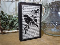 Items similar to Desk Accessories - Black bird silhouette art wood block - made with a VINTAGE BOOK PAGE - Gift for him or her - on Etsy Owl Art, Bird Art, Bird Silhouette Art, Bird Bathroom, Crafts To Make, Diy Crafts, Forest Friends, Baby Owls, Wooden Blocks
