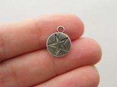 BULK 50 Star charms antique silver tone S3
