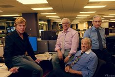 With Watergate's 40th anniversary approaching, Annie Leibovitz takes a historic photo of the scandal's storytellers—Robert Redford, Carl Bernstein, Ben Bradlee, and Bob Woodward—inside the Washington Post newsroom. Photograph by Annie Leibovitz.