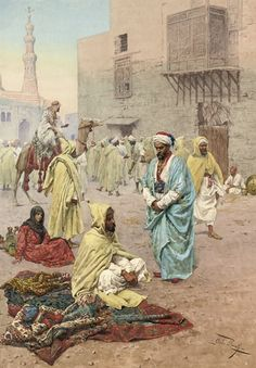 Giulio Rosati (Italian, 1858-1917)  Pilgrims outside a mosque  signed 'Giulio Rosati' (lower right)  pencil and watercolor on paper  28 7/8 x 20½ in. (73 x 52 cm.)