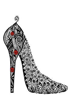 Shoe doodle  (.....cr....oldest granddaughter loves shoes....I could doodle a shoe for her in my book...smile)
