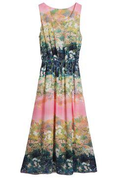 Red Sleeveless Floral Bandeau Pleated Chiffon Dress - Sheinside.com