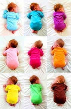 Newborn babies in rainbow colored onesies Cute Warhol inspired photography idea Cute Kids, Cute Babies, Baby Kids, Baby Pictures, Baby Photos, Monthly Pictures, How To Dye Fabric, Dyeing Fabric, Everything Baby
