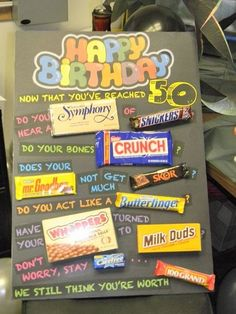 50th Birthday Poster Made with Candy Bars, http://hative.com/candy-bar-poster-ideas-with-clever-sayings/