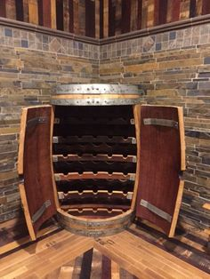 Barrel Wine Rack – Wine World Whiskey Barrel Bar, Wine Barrel Table, Wine Barrel Furniture, Bar Furniture, Table Baril, Wine Cellar Basement, Under Stairs Wine Cellar, Barris, Home Wine Cellars