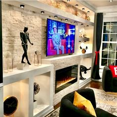 Condo Living, Home And Living, Entertainment Wall Units, Wallpaper Furniture, Interior Decorating, Interior Design, Interior Stylist, Happy Monday, Looking Back