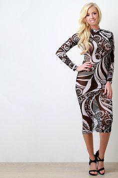 Printed Semi-Sheer Mesh Longsleeve Bodycon Dress