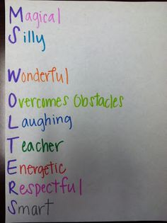 First day of School activity for the entire class! Each student writes there own acrostic.