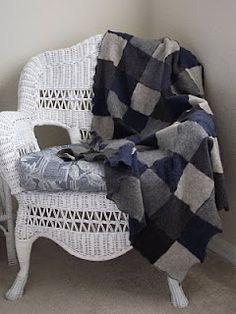DIY sweater patchwork throw