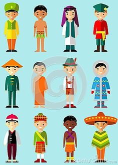 Vector illustration of multicultural national children, people in  traditional costumes