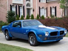 blue pontiac Trans Am muscle car