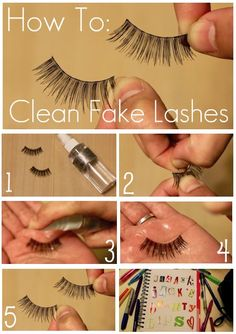 How to clean fake lashes.because wearing them over and over again with clumped up makeup is awful and scares little children. All Things Beauty, Beauty Make Up, Diy Beauty, Beauty Hacks, Luxury Beauty, Beauty Stuff, Beauty Ideas, Beauty Secrets, Beauty Tips
