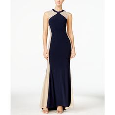 Xscape Embellished Illusion Colorblocked Gown ($269) ❤ liked on Polyvore featuring dresses, gowns, white evening dresses, color block evening gown, white color block dress, xscape gowns and color block gown