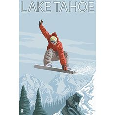 Snowboarder Jumping - Lake Tahoe, California (12x18 SIGNED Print Master Art Print w/ Certificate of Authenticity - Wall Decor Travel Poster) * To view further for this item, visit the image link. (This is an affiliate link) #WallArt