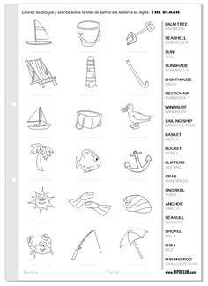 Vocabulario de la playa en inglés - The beach #English #inglés #worksheet #verano #summer #Español #preescolar #niños