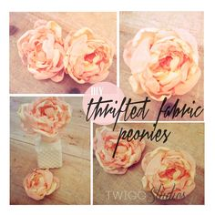 Use thrifted fabric and run through a small flame to make these peonies. Whip quick stitches and they're ready for cute use!