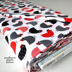 Kip Fabric  rood zwart en grijs kippen  door SouthernStitchFabric