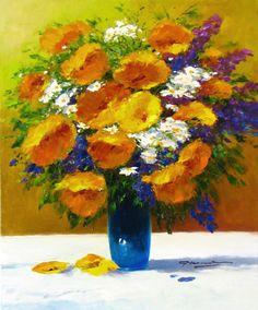 """G. Nesvadba """"Orange Floral with Purple"""" http://www.artshopnc.com/component/content/article/318.html"""