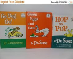 CHRISTMASINJULY: Dr. Seuss/ P.D.Eastman lot of 3 - Go, Dog, Go?, Hop On Pop, Green Eggs And Ham by CellarDeals on Etsy