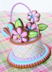 Contoured Easter cookie baskets by Julia M Usher. Beautifully done.