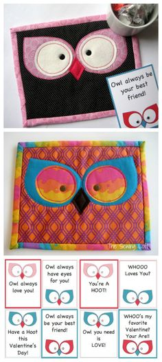 Funny Owl Mug Rug Pattern includes Free Valentines Printable gift tags on The Sewing Loft.  I love these mini quilt projects.