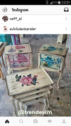 Repainting Furniture, Decoupage Furniture, Hand Painted Furniture, Upcycled Furniture, Wood Furniture, Vintage Furniture, Vintage Box, Vintage Shabby Chic, Shabby Chic Boutique