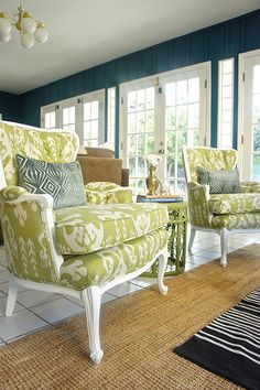 Love the wall color, chair color