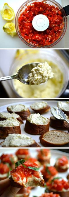 Whipped Feta Crostini - Spread whipped feta over baguettes. Top with tomato mixture and basil.