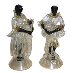 Pair of Vintage Murano Glass Blackamoors | From a unique collection of antique and modern figurines at http://www.1stdibs.com/furniture/dining-entertaining/figurines/