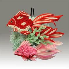 Other Kanzashi: traditional kingyo (goldfish) on meikoukai. Tsumami zaiku art by Ishida-sensei. Traditionally, this is for August. Ribbon Art, Ribbon Crafts, Flower Crafts, Paper Crafts, Kanzashi Tutorial, Quilling Designs, Paper Quilling, Quilled Creations, Kanzashi Flowers