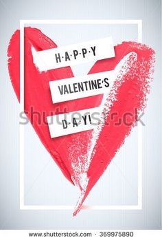 HAPPY VALENTINE'S DAY. Stroke heart and white border greeting card. Love  Typographical Poster Template, vector design