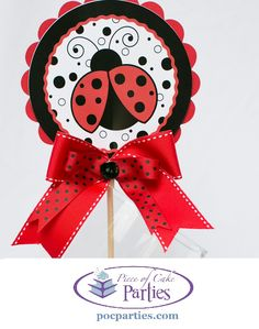 Ladybug birthday party cake topper, centerpiece or decoration. By Piece of Cake Parties. Charming. Effortless. Affordable.