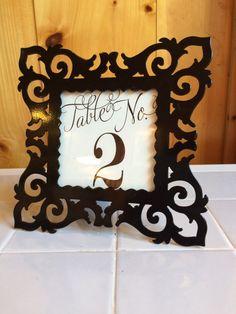 black framed table number