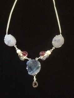 Sterling Silver Necklace With Natural Stones: Pearl, Topaz, Blue Quartz