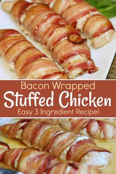 easy 3 ingredient Bacon Wrapped Stuffed Chicken is full of flavoured cream cheese and wrapped in bacon love - which is crisp bacon. Bacon Wrapped Stuffed Chicken, Cheese Stuffed Chicken, Cream Cheese Chicken, Chilli Chicken Recipe, Chilli Recipes, Best Chicken Recipes, Easy Cooking, Cooking Recipes, Meal Recipes