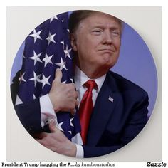 Shop President Trump Hugging the American Flag Button created by knudsonstudios. Personalize it with photos & text or purchase as is! Trump American, American Pride, Political Opinion, Politics, Trump Flag, American Flag Art, Trump Birthday, Mr President, Custom Buttons