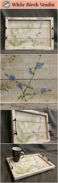 Decorative tray, Barn wood Serving Tray, Spring FARMHOUSE table tray, Wild flowers, Spring flowers, distressed upcycled wood  This unique piece is 19 in x 12 in.   Are you looking for a unique, personal FARMHOUSE touch for your summer decorating at home or your cottage? This tray will look great on your coffee table or front porch.