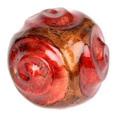 Ceramic Swirls Red Foil Finish Orb | Kirklands