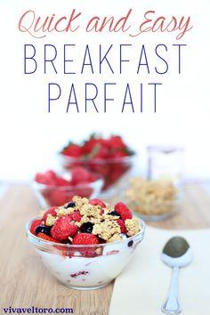 A simple and super easy yogurt parfait breakfast recipe. (spon)