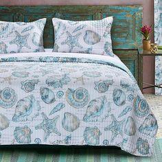 Highland Dunes Zayas Reversible Quilt Set Size: King Quilt + 2 Shams, Color: Aqua/Turquoise/Off-White Coastal Quilts, Coastal Bedding, Luxury Bedding, Beach Bedding, Bedding Decor, Coastal Bedrooms, Unique Bedding, King Quilt Sets, Queen Quilt