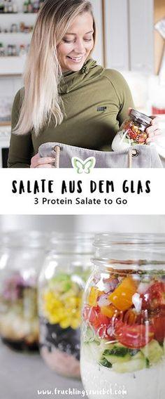 Schnelle Salat Rezepte für jeden Tag - 3 leckere Protein Salate aus dem Glas. Ideal zum Mealpreppen und als Mittagessen auf der Arbeit. Unter 300 Kalorien und immer über 20g Protein. Vegetarisch, einfach und lecker. #salateimglas #officelunch #mealprep