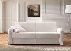 photo canape en tissu blanc - canape2places.com