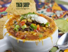 This Taco Soup is the perfect comfort food this chilly time of year! | pipandebby.com