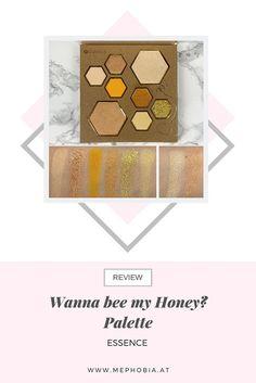 """Hier seht ihr die Swatches der """"Wanna bee my Honey?"""" Palette von essence. Review dazu findet ihr auf meinem Blog! :)  #swatches #beautyblogger #essence #bee #yellowmakeup #goldmakeup #gelb #gold Make Up Gold, My Honey, Bee, Eyeshadow, Beauty, Honey Bees, Eye Shadow, Bees, Eye Shadows"""