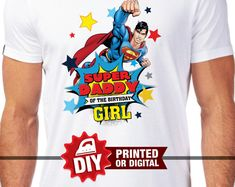 Printed or Digital - Superman Iron On Transfer, Superman shirt, instant download, DIY, Superman Party, Superheroes iron on, Wonder Woman