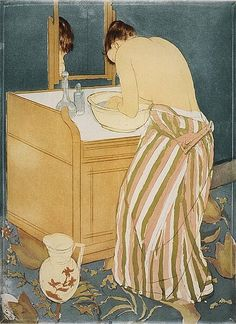 Woman Bathing (La Toilette) by Mary Cassatt - Handmade Oil Painting on Canvas - American Paintings — Canvas Paintings Mary Cassatt, American Impressionism, Famous Artwork, Peter Paul Rubens, Camille Pissarro, Impressionist Paintings, Paul Gauguin, Japanese Prints, Still Life Photography